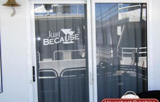 "Etched Glass Decals for Houseboat - Martini Glass ""Just Because"""